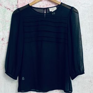 Ann Taylor Loft Sheer Black Blouse
